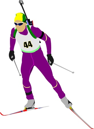 move gun: Biathlon runner colored silhouettes.