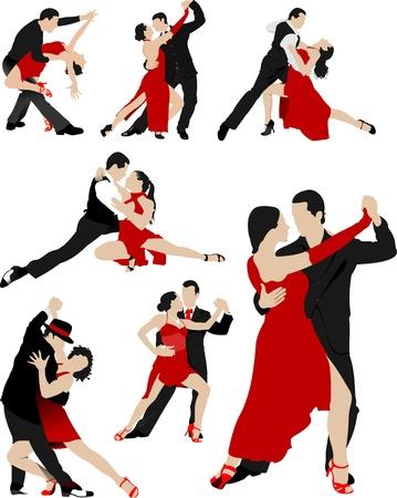 coordinacion: Gran conjunto de parejas bailando un tango Vectores