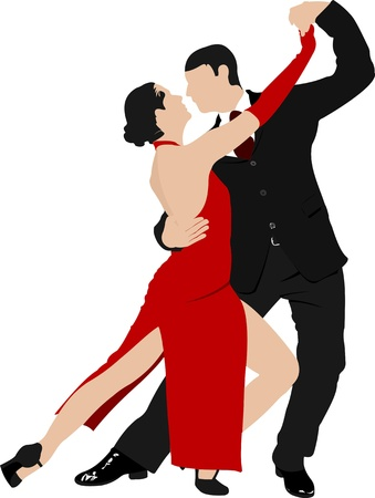 elasticity: Couples dancing a tango. Illustration
