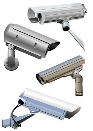Beveiligingscamera geïsoleerd op het wit Vector Illustratie