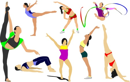 Big set of Woman gymnastics Vector
