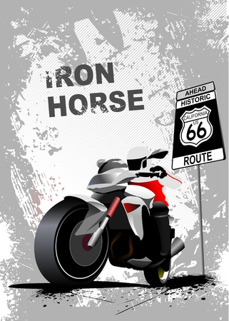 Grunge gray background with motorcycle image.  Vector
