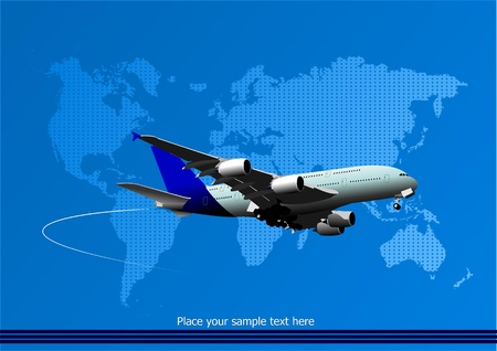 Blue abstract background with passenger plane and world map images. Vector illustration Vector