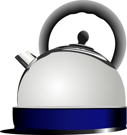 Shiny steel kettle. Vector
