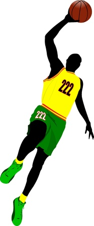 dunk: Basketball players. Colored Vector illustration for designers