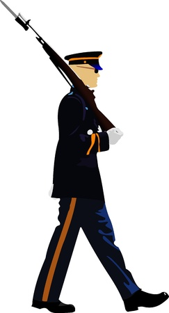 marching: American soldier during a military parade. Vector illustration on white background