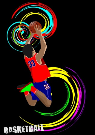 dunk: Poster of Basketball player. Colored Vector illustration for designers