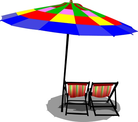 beach umbrella: Two beach chairs and colored umbrella on beach Illustration