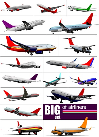 runway: Big set 0f  Airliners. Vector illustration Illustration