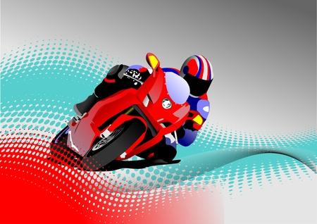 casco de moto: Motorista en la carretera de bacjground doitted gris. Ilustración vectorial Vectores