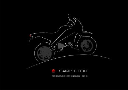 flown: White silhouette of motorbike on black background. Vector illustration