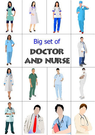 Big set of Medical doctors and nurse. Vector illustration  Stock Vector - 10013562