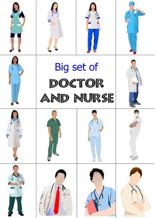 estudiantes medicina: Gran conjunto de médicos y enfermeras. Ilustración vectorial