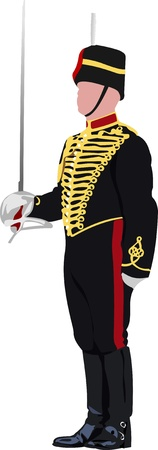 british man: Royal Guard with sword at Buckingham palace in London. Vector illustration