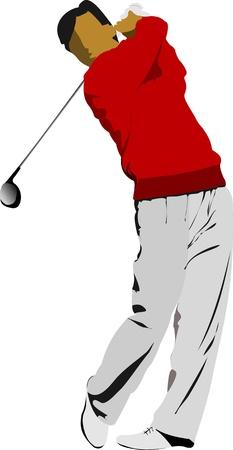 Golfista golpear la pelota con el club de hierro. Ilustración vectorial