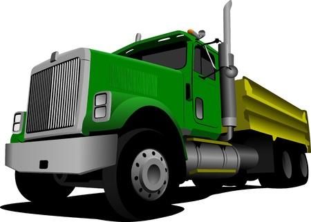 camion volteo: Tipper verde aislados en ilustraci�n vectorial de fondo blanco