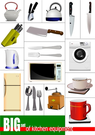 kitchen equipment: Big set of kitchen equipment. Vector