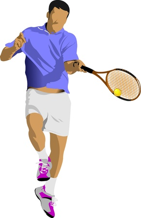 tennis player: Tennis player. Colored Vector illustration for designers