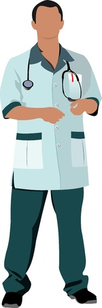 smock: Nurse man with white doctor`s smock. Vector illustration