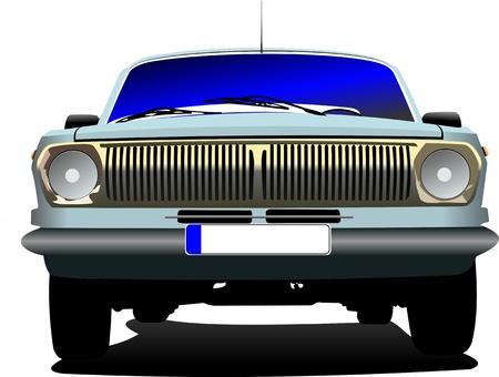 rarity: Fifty  years old blue rarity car. Vector illustration