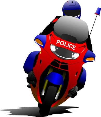 motor officer: Policeman on police motorcycle on the road. Vector illustration Illustration