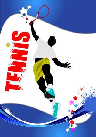 tennis racquet: Cartel de jugador de tenis. Color ilustraci�n vectorial para dise�adores