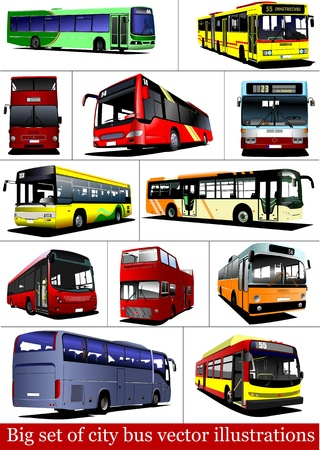 Big set of City buses. Tourist coach. Vector illustration for designers