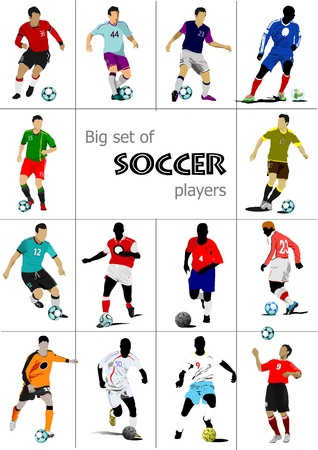 Gran conjunto de jugadores de fútbol. Ilustración del vector de color para los diseñadores Ilustración de vector