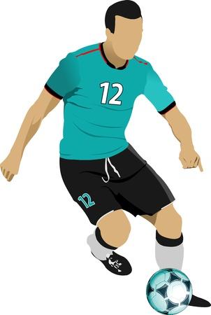 portero: Jugadores de fútbol. Color ilustración vectorial para diseñadores Vectores