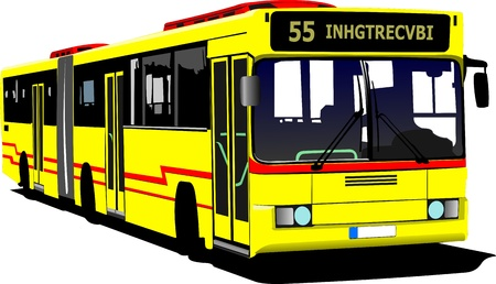 tourist bus: City bus on the road. Vector illustration