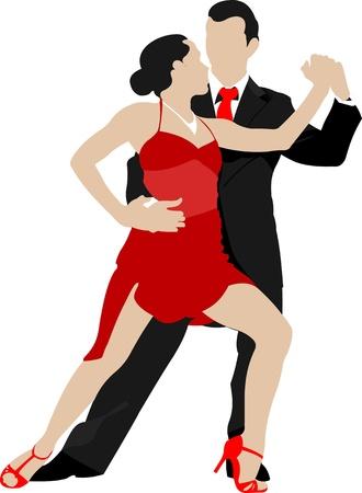 Couples dancing a tango Vector