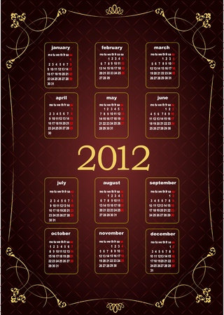 Vintage image 2012 calendar. Vector illustration  Vector