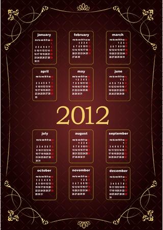 Vintage image 2012 calendar. Vector illustration  Vector