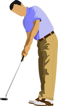 golf iron: Golfer hitting ball with iron club. Vector illustration Illustration