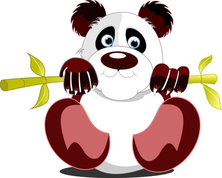 one panda: Little sitting panda. Vector illustration