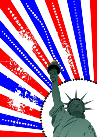 Cover for brochure with USA image, American flag and  freedom monument Vector