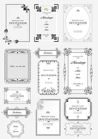 Set of ornate vector frames and ornaments with sample text. Perfect as invitation or announcement. Eps file for separated pieces, easy to change colors and edit. Vector