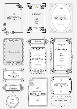 inbjudan: Uppsättning utsmyckade vektor ramar och ornament med exempeltext. Perfekt som inbjudan eller meddelande. Alla bitar är separata. Lätt att ändra färger och redigera.