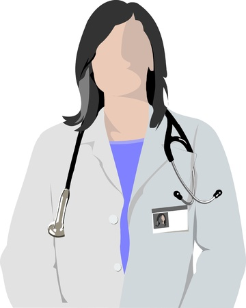 medical student: Medical doctor with stethoscope on cardiogram  background. Vector illustration