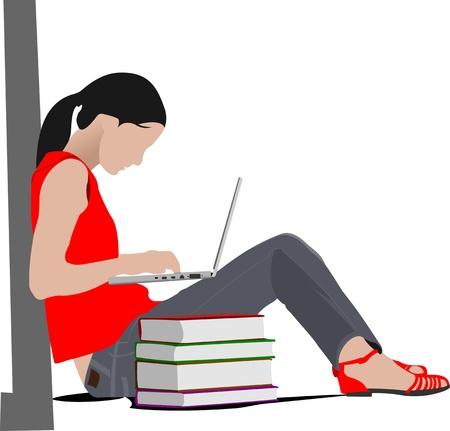Sitting girl with laptop and book`s column. Back to school. Vector illustration