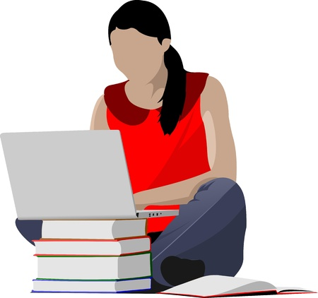 young schoolgirl: Sitting girl with laptop and book`s column. Back to school. Vector illustration