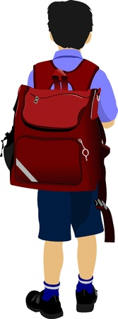 Little boy is going to school. Back to school. Vector illustration Stock Vector - 10279415