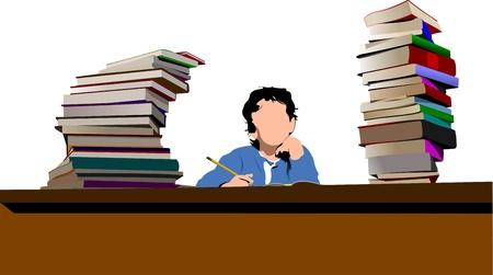 Sitting boy between book`s column. Back to school. Vector illustration Stock Vector - 10279423