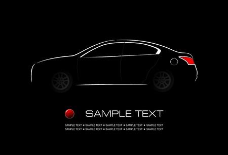 car silhouette: White silhouette of car on black background. Vector illustration Illustration