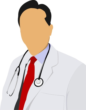 Medical doctor with stethoscope on white  background. Vector illustration Stock Vector - 10279397