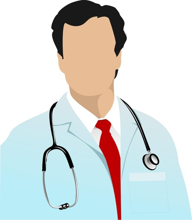 medical student: Medical doctor with stethoscope on white  background. Vector illustration Illustration