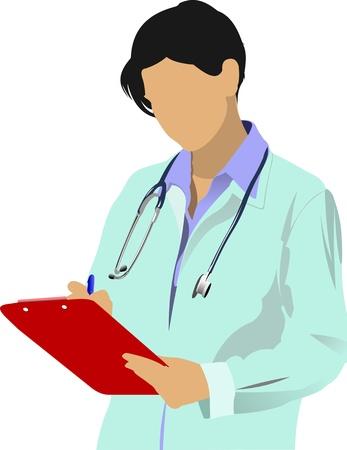 stagiaire: Docteur en m�decine avec st�thoscope sur fond blanc. Illustration vectorielle