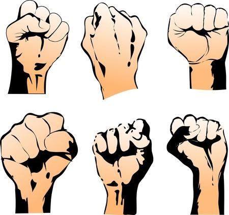 resistance: Six Struggle Hand Symbols. Vector Illustration Illustration
