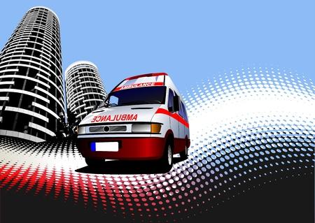 ambulances: Abstract urban background with ambulance image. Vector illustration