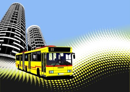 tramcar: City transport on city background. Bus. Vector illustration
